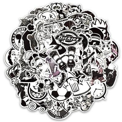 50pcs Random Vinyl Black White Stickers Skateboard Laptop Luggage Car Bomb Decal