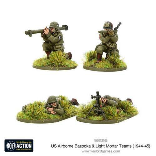 Bolt Action 28mm US Airborne Bazooka /& light mortar teams Warlord Games