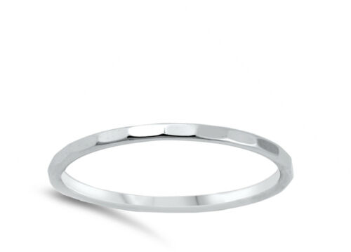 Thin Diamond-Cut Stackable Wedding Ring New .925 Sterling Silver Band Sizes 2-10