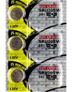 3 x Maxell 381 Watch Batteries, SR1120SW Battery   Shipped from USA