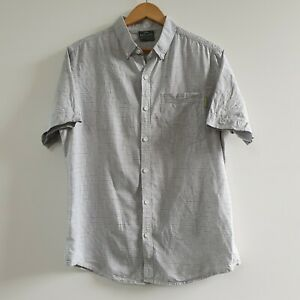 Kathmandu Men's Shirt Hemp Blend Short Sleeve Button Up Grey Striped Size M