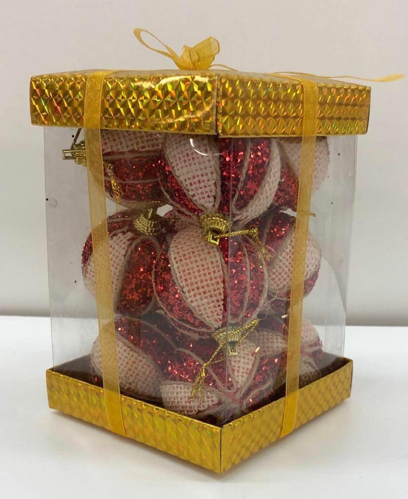 12 Red Cream Glitter Christmas Tree Decoration Baubles Soft Foam Xmas Home Decor For Sale Online Ebay