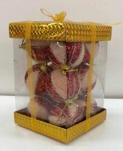 12 Red Glitter Décorations pour arbres de Noël boules en mousse souple de Noël Décoration Maison