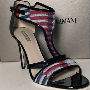 925-Giorgio-Armani-Women-039-s-Black-7-37-Leather-Fashion-Ankle-T-Strap-Heels-Pumps