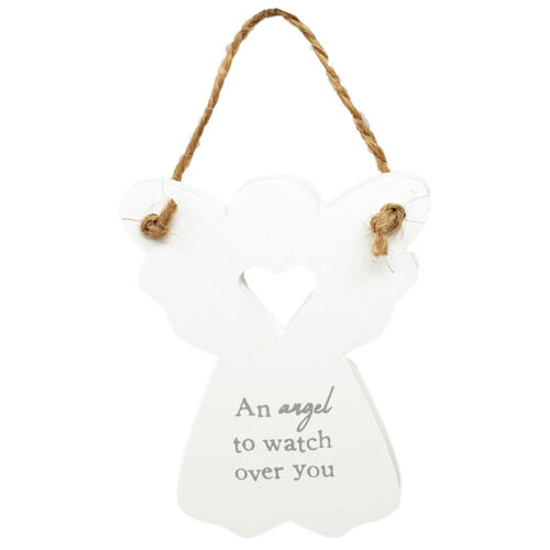 White Mini Wooden Guardian Angel Heart Plaques Mum Mother Sentiment Quote Signs