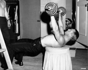 American-Actor-Steve-Mcqueen-Working-Out-With-Weights-During-The-Of-OLD-PHOTO