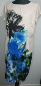 Minuet-Petite-Etuikleid-Abstrakt-Blumen-Schwarz-Blau-Creme-Groesse-18-aermellos