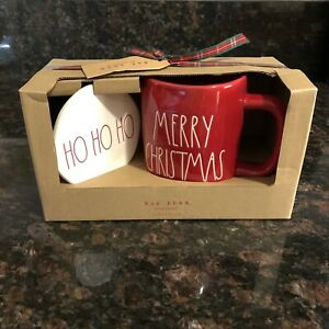 Rae-Dunn-MERRY-CHRISTMAS-Mug-Red-With-Coaster-Set-Farmhouse-Holiday-by-Magenta