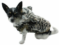 Hundejacke Hund Mantel S M L Hundemantel Tiger Kunstfell Winter warm braun
