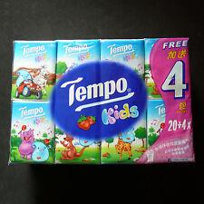 24 packs Genuine Tempo Petit Kids Pocket Tissue Paper 4 ply Strawberry Flavor