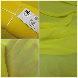 100-SILK-CHIFFON-GEORGETTE-BRIGHT-YELLOW-137CM-WIDE-7-PER-METRE