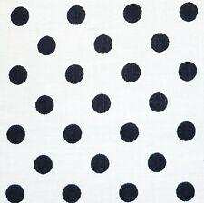 "Blanco 100% Algodón 1/4 ""Negro Lunares Spot Tela P/mt"
