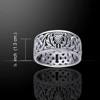 Scottish Thistle Band Sterling Silver Ring By Peter Stone Unique Free Shipping
