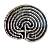 Celtic Maze Labyrinth Pewter Pin Badge - Hand Made in Cornwall