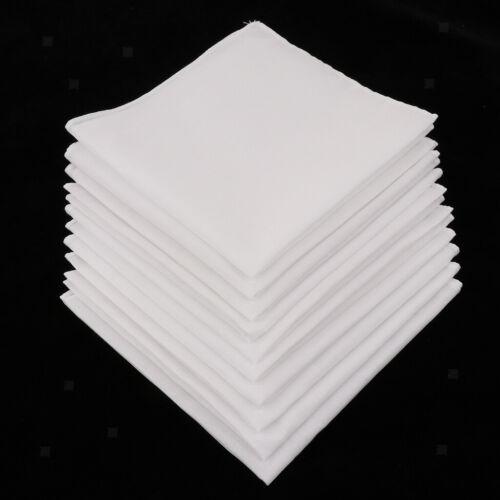 10 stücke Mens 100/% Baumwolle Weiß Genäht Taschentuch Taschentücher