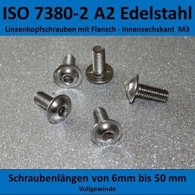 100 St Innensechskantschrauben Linsenkopf  ISO DIN 7380 M3x14 EDELSTAHL V2A A2