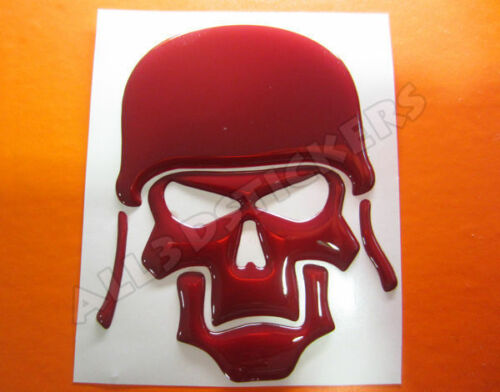 3D Sticker Decal Resin Domed Skull Army Adhesive Decal  Maroon