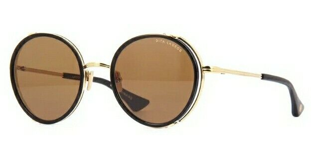 DITA LAGEOS Oval Gold/Black Metal Frame Brown Lens Sunglasses Authentic