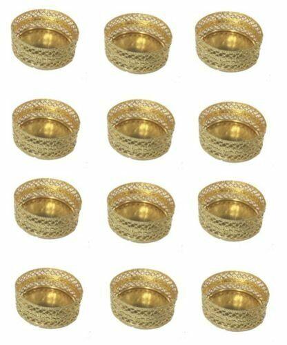 Parties 12 Gold Tea Light Holders Mesh Design Indian Diwali Christmas
