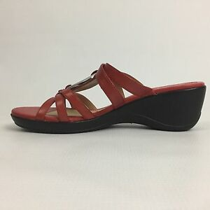 daac3da164341f Women Naturalizer N5 Comfort Red Leather Slide Sandal Silver Accent ...