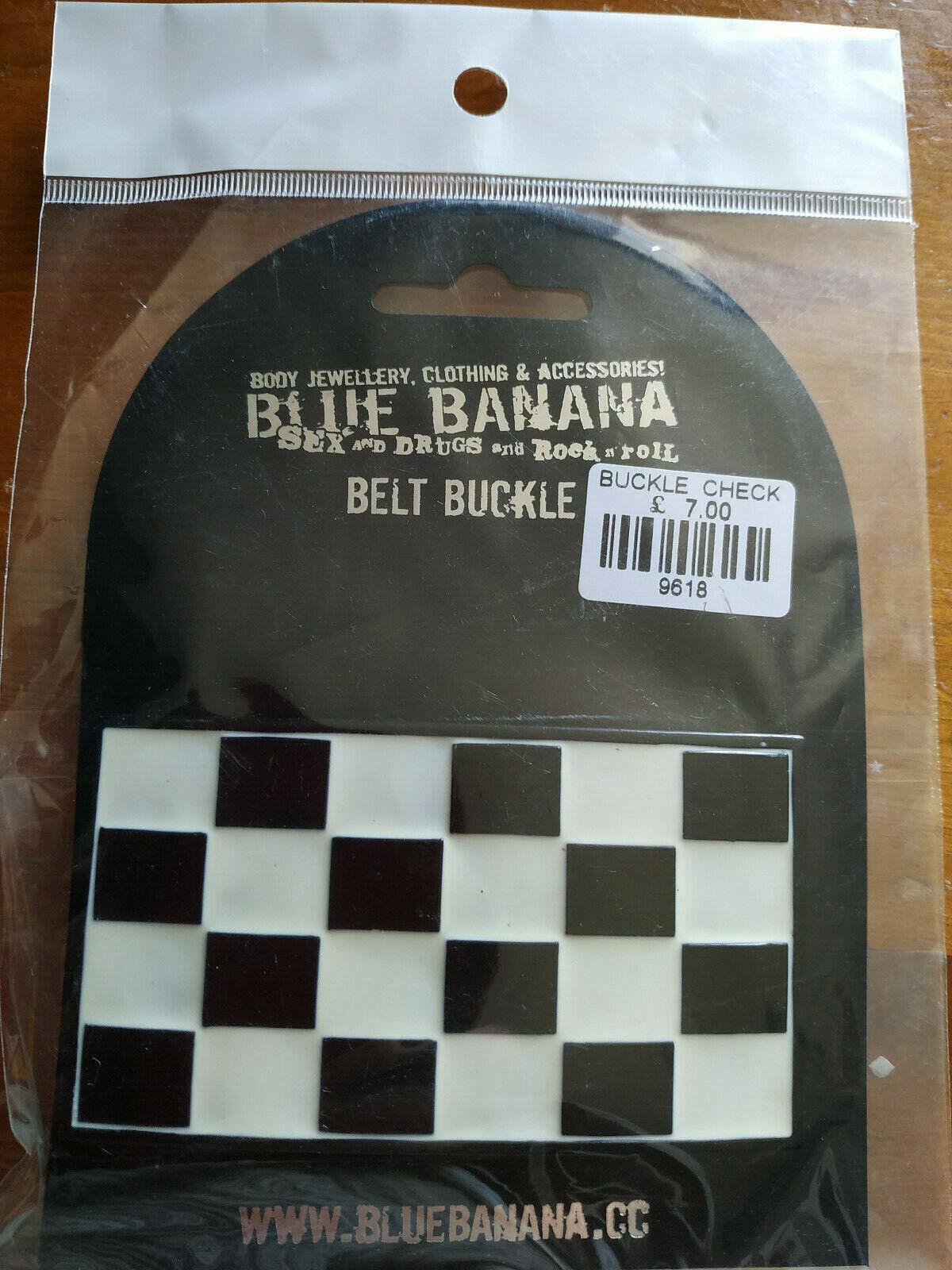 13128) Black and white check rectangular belt buckle BNIP Blue Banana