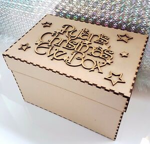 Wooden-Personalised-Christmas-Eve-Box-And-Topper-mdf-Xmas-Tree-Gift-Memory-Box