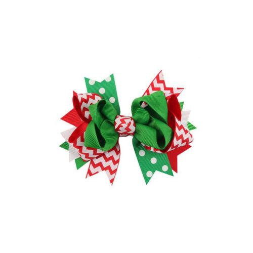 Girl Christmas Gift Bow Hair Alligator Clip Grosgrain Ribbon Hairpin Xmas Decor