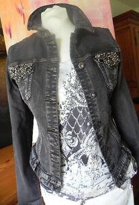 Eyecatcher jeansjacke jacke perlen strass detail luxus - Jeansjacke perlen ...