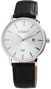 Akzent-Herrenuhr-Silber-Schwarz-Analog-Datum-Kunst-Leder-Quarz-X-2900119-002