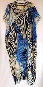 Batik-Kaftan-Calf-Length-Artistic-Design-Black-Blue-New