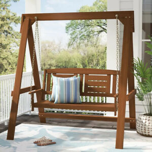 Wood Porch Swing With Stand 2 Seat Glider Outdoor Patio Furniture Hanging Bench Ebay