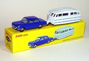 Dan Toys Bmw 1500 Bleu Foncé Et Caravane Henon Blanc Dan-a03
