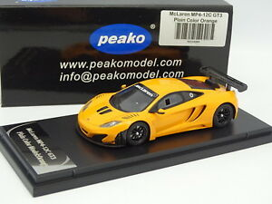 Peako Resin 1/43 - Mclaren Mp4-12c Gt3 Couleur Unie Modèle Orange