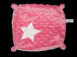 Doudou carre plat rose et blanc etoile Natanaelle Creations
