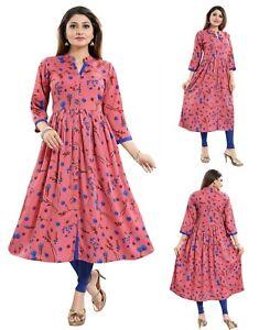 Women-Indian-Pink-Kurti-Floral-Printed-A-Line-Top-Tunic-Kurta-Shirt-Dress-SC2475
