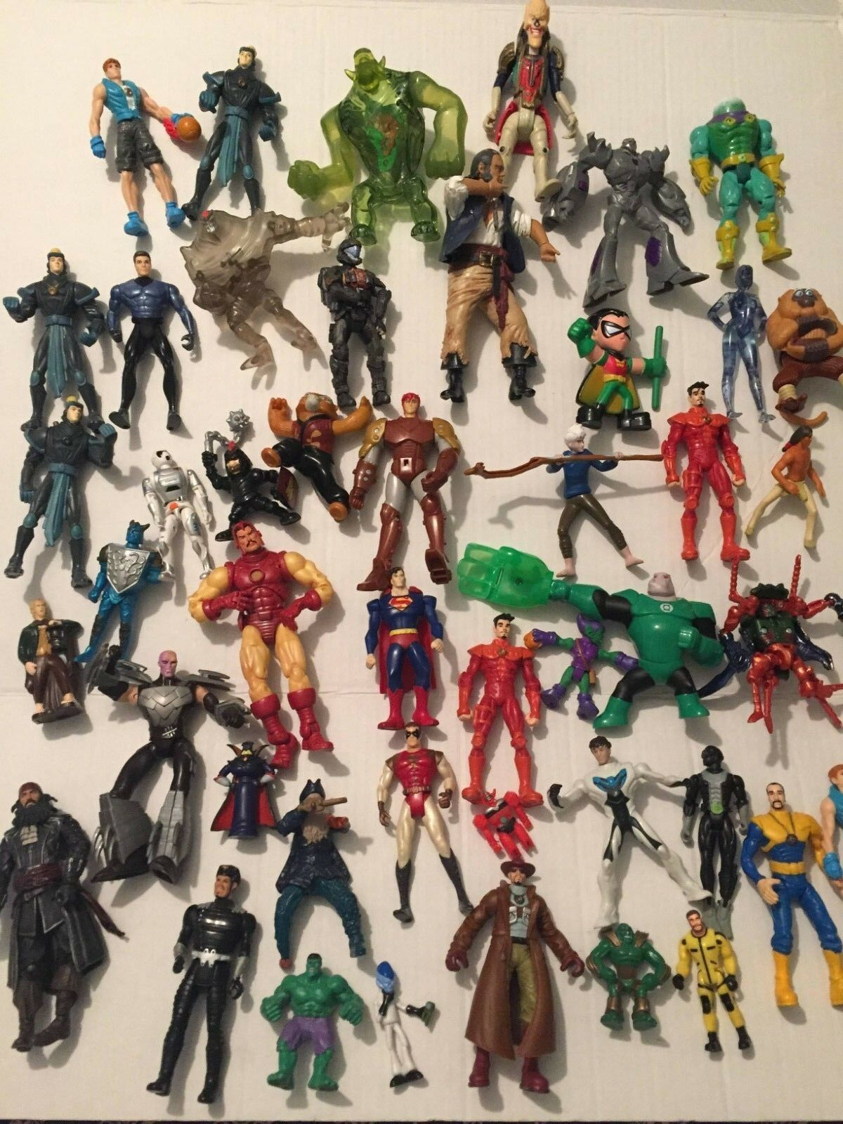 Large Lot of 59 Action Figures - Marvel and Others - Bat Man   Power Rangers