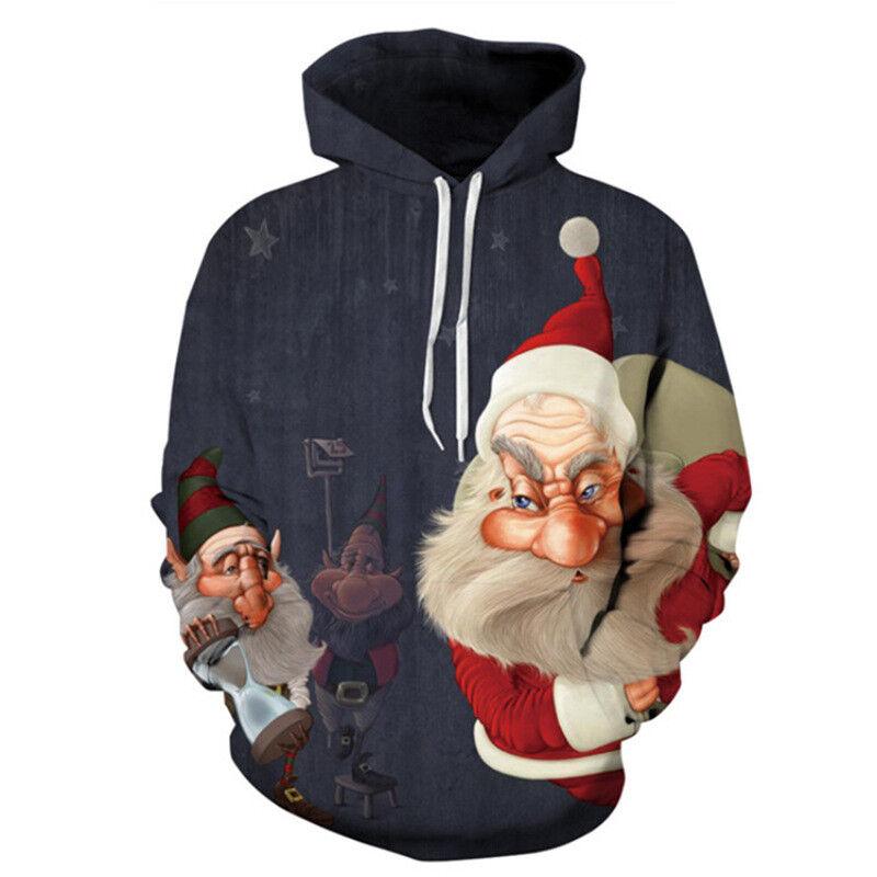 Unisexe Noël 3D Père Noël Imprimé Pull Pull à Capuche Sweat Pull Pull Pull-Over Haut 5a49ed