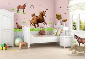 003 wandtattoo pferd mit fohlen pony reiten gras wiese. Black Bedroom Furniture Sets. Home Design Ideas