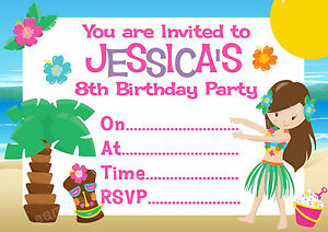 personalised hawaiian beach hula luau birthday party