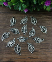Wholesale 20pcs Tibet silver Leaves Charm Pendant beaded Jewelry Findings DIY []