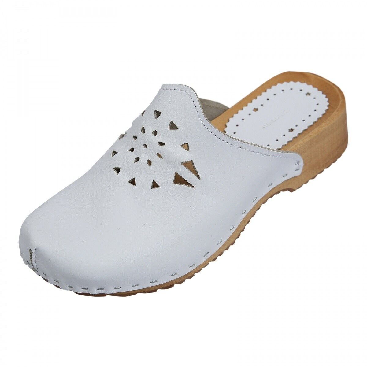 Wooden shoes - Karla Ladies Clogs Real Leather Mules White