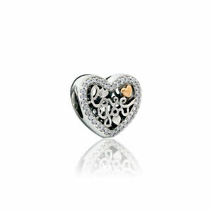 9d9c4570e3eea Authentic PANDORA 925 Love You 14k Gold Heart Charm Pendant 792037CZ ...