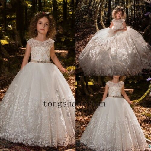 Princess Lace Flower Girl Dress Kids Holy Wedding Communion Ball Gowns White New