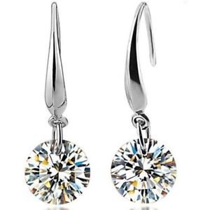 Womens-Earrings-Round-Crystal-Hook-Drop-Dangle-Stud-925-Sterling-Silver-Plated