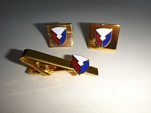 Pair-USAF-MATERIEL-COMMAND-Cuff-Links-Matching-Tie-Clasp-Bar-Great-Gift