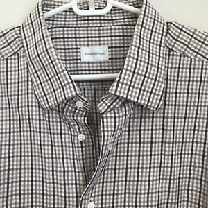 ae843ef2 Details about Ermenegildo Zegna Mens Plaid Long Sleeve Button Front Shirt  Regular Fit 47 18.5