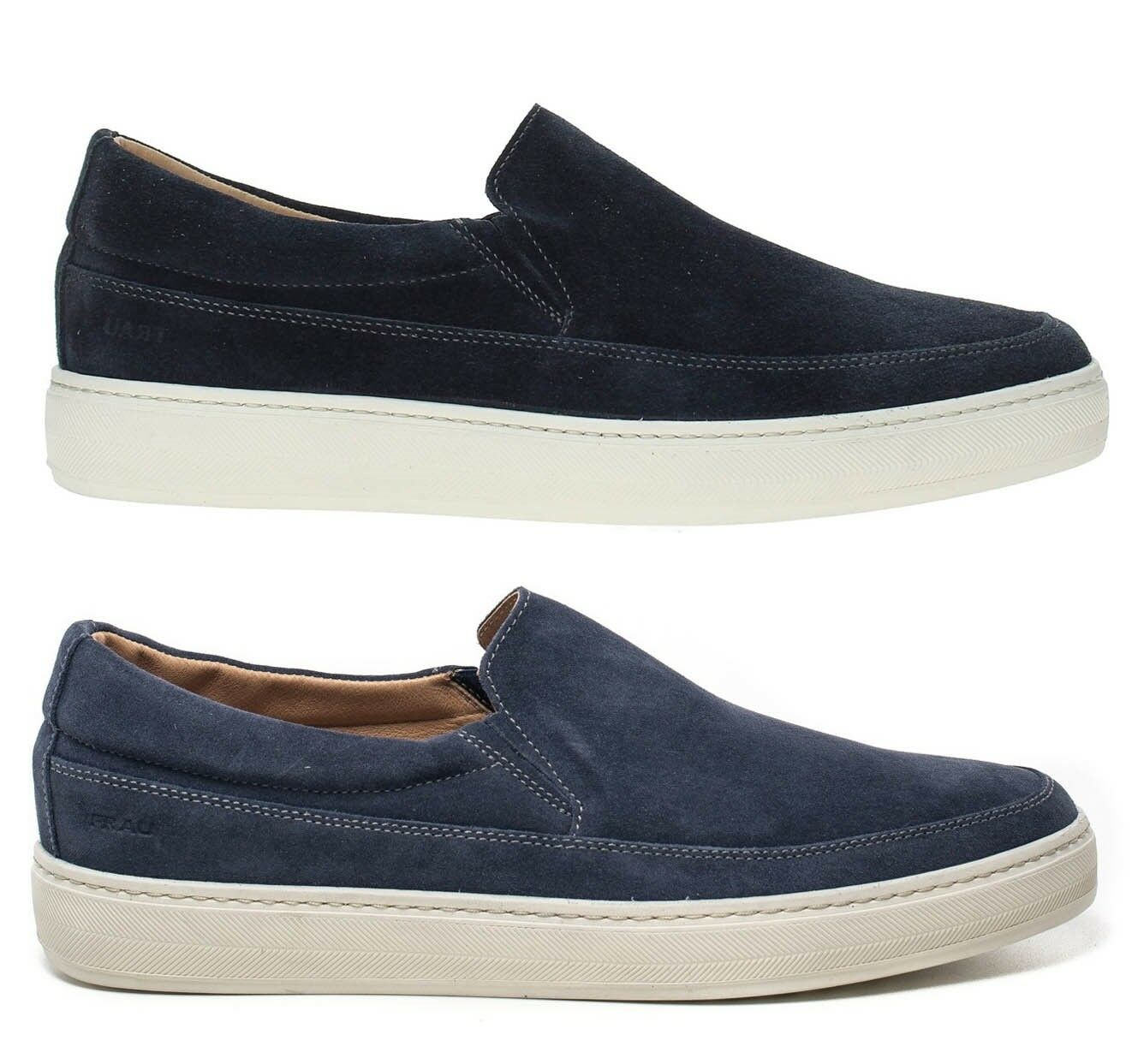 Frau 28a4 bluee Jeans Men's shoes Loafers Velour Lace-Up Slip on Sneakers Suede
