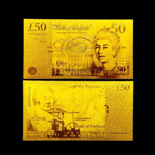 ENGLAND 50 UK UNITED KINGDOM POUNDS 2011 P-393 GOLD 24K BANKNOTE!