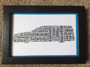 Volvo 850 Estate BTCC Word Art 6x4 Framed Iconic Super Touring Era - Glossop, Derbyshire, United Kingdom - Volvo 850 Estate BTCC Word Art 6x4 Framed Iconic Super Touring Era - Glossop, Derbyshire, United Kingdom