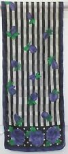 TERRIART Black, White, Purple Stripes, Dots, Flowers 54x11 Long Scarf-Vintage